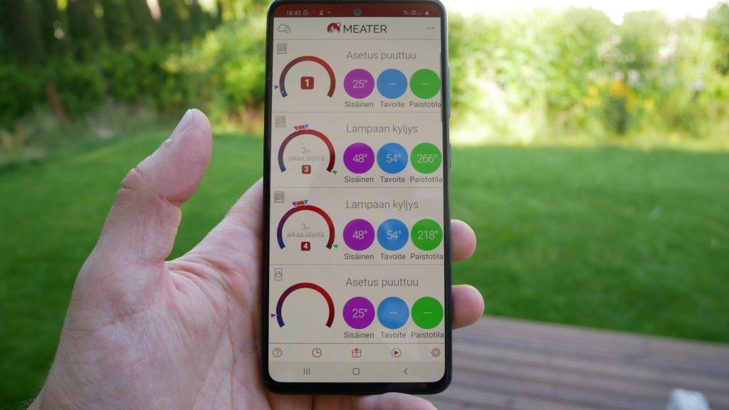 Kuva Meateri -sovelluksen näkymästä, jossa nähdään suuri ero kahden eri proben ympäröivää lämpötilaa rekisteröivän anturin avulla.